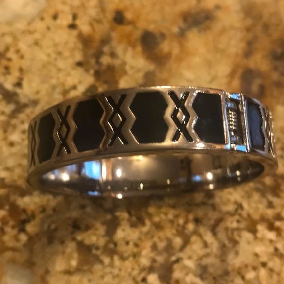 Black silver snap closure bracelet